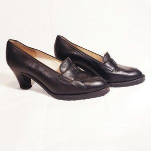 CHANEL Loafers Heels Black Leather Authentic 5.5